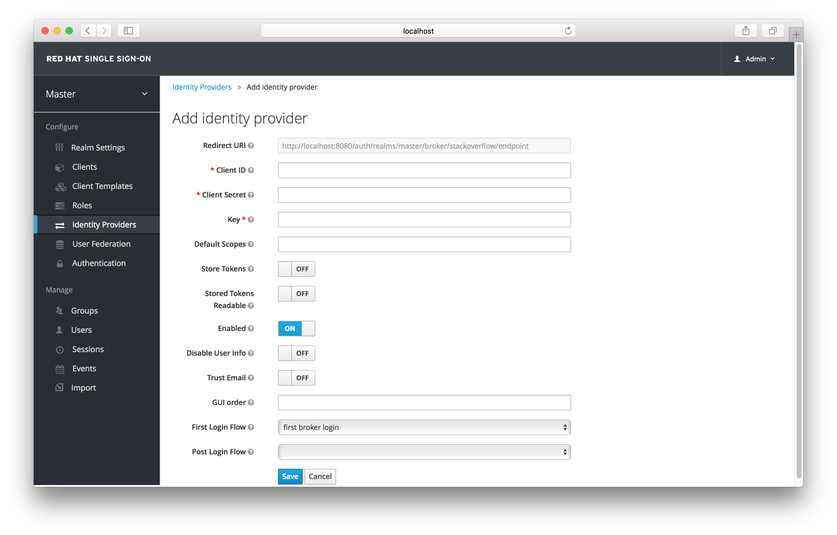 stack overflow add identity provider