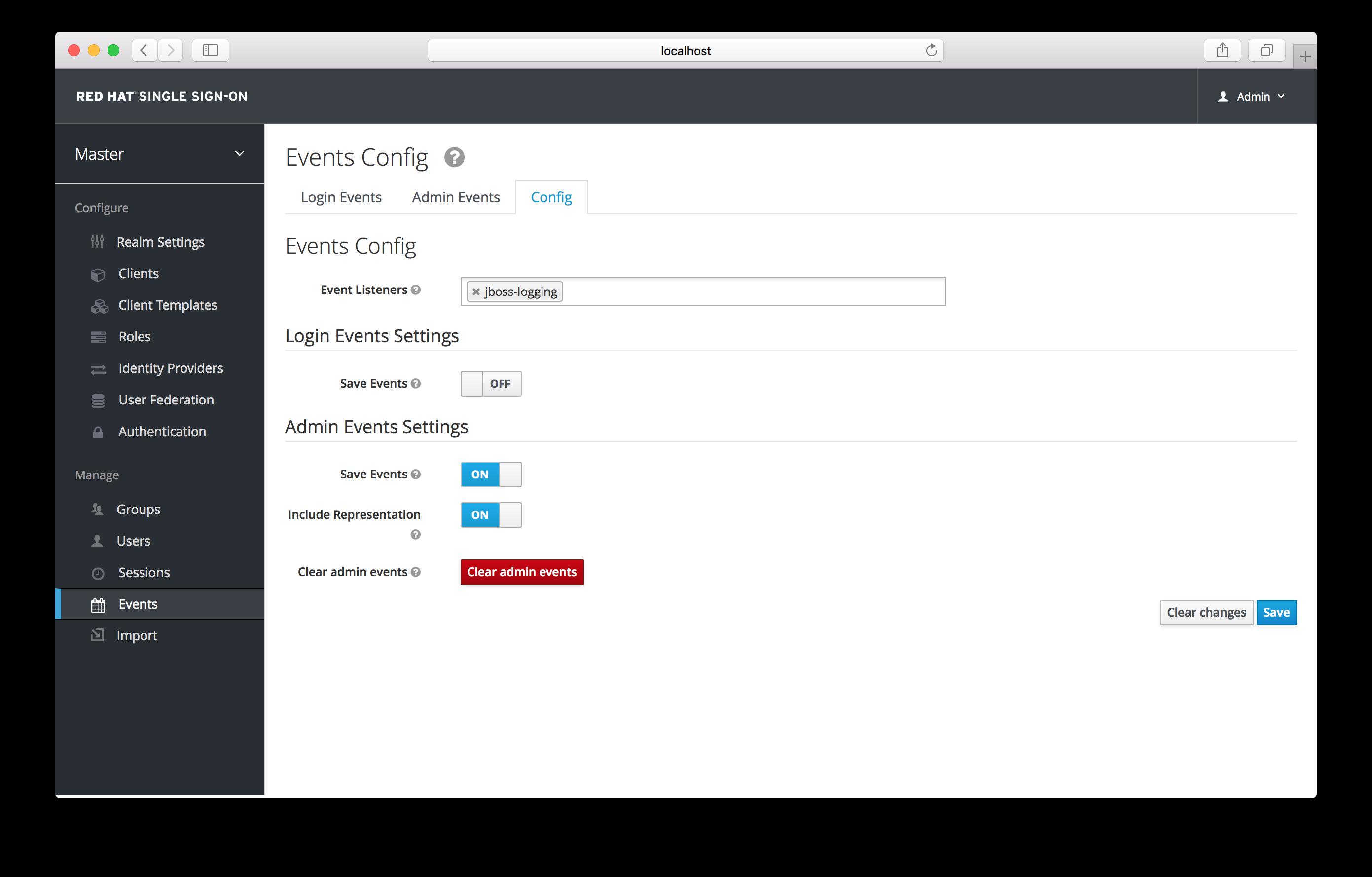 admin events settings