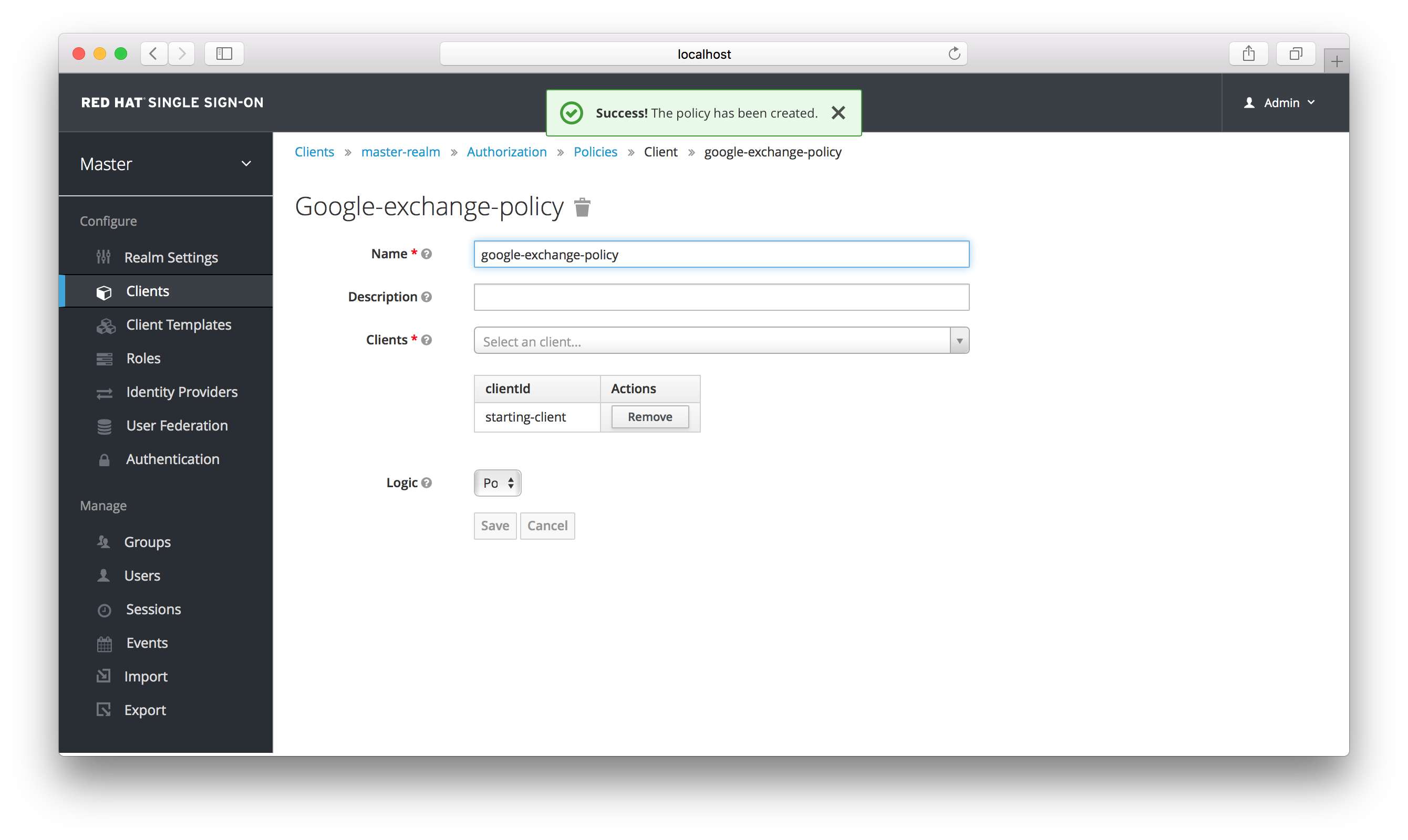 exchange idp client policy