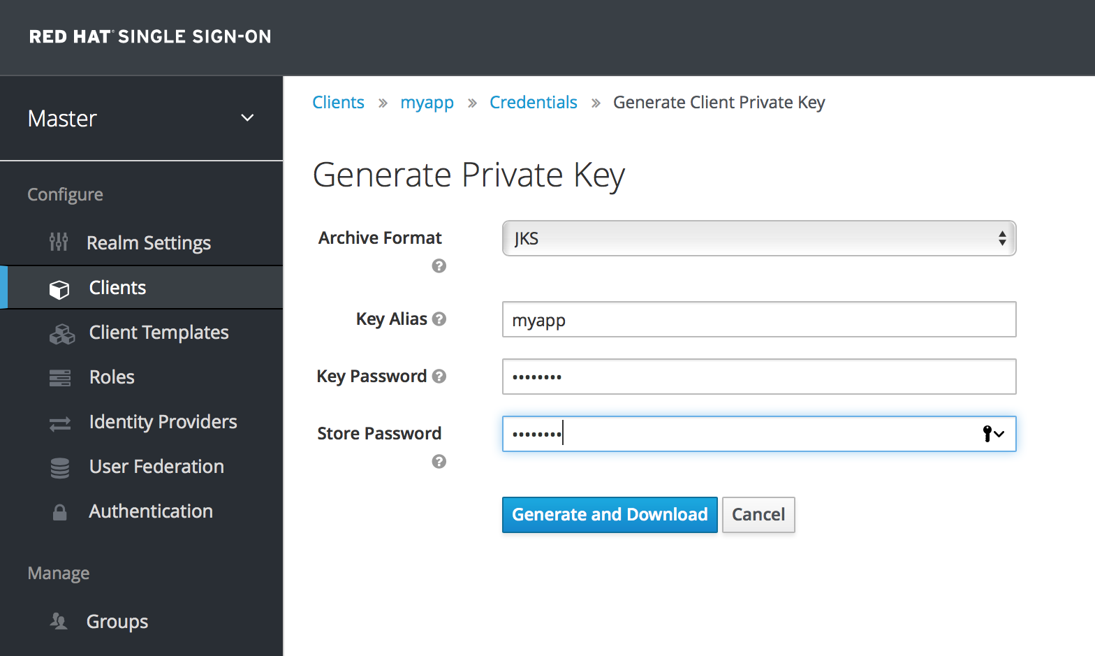 generate client keys
