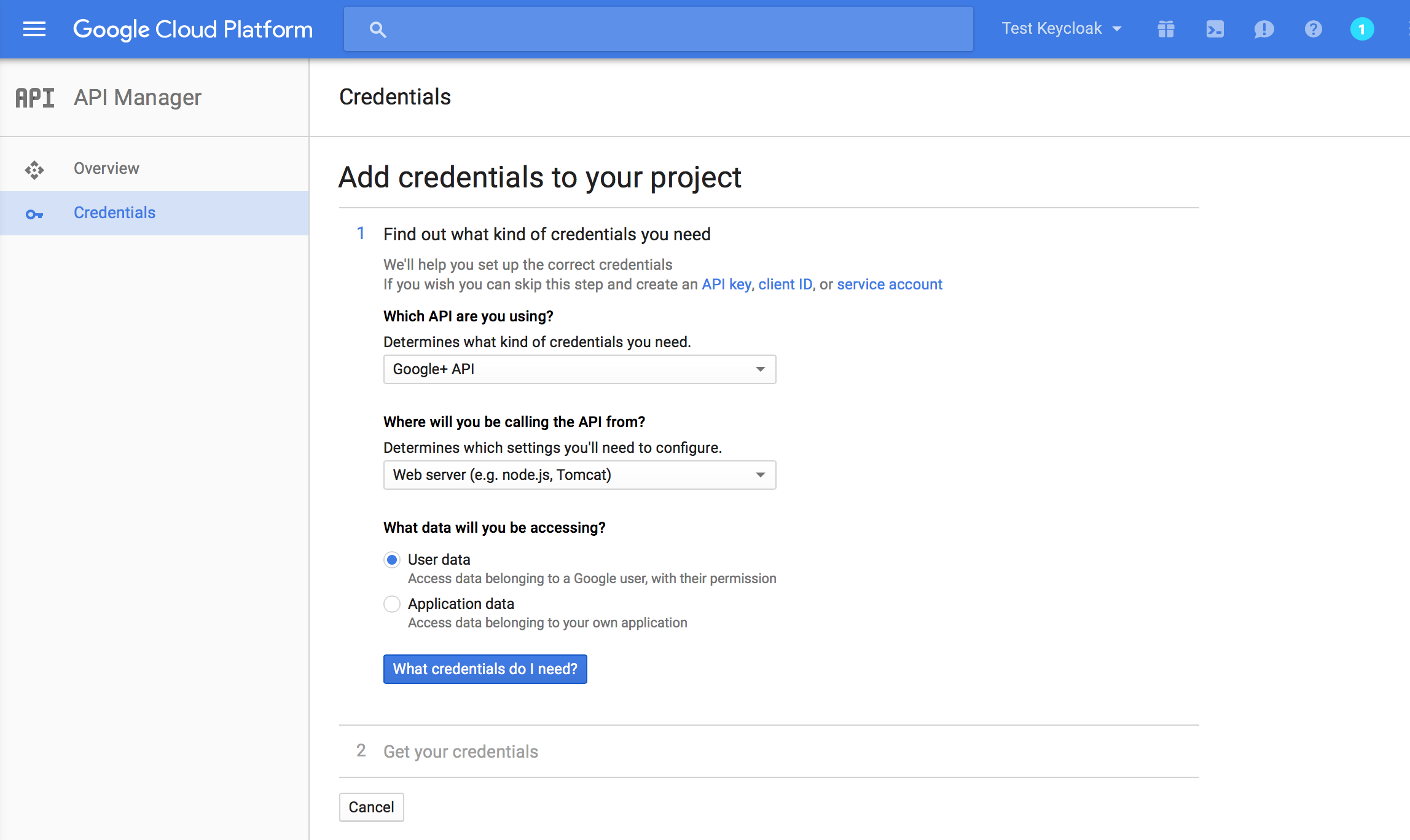 google add credentials