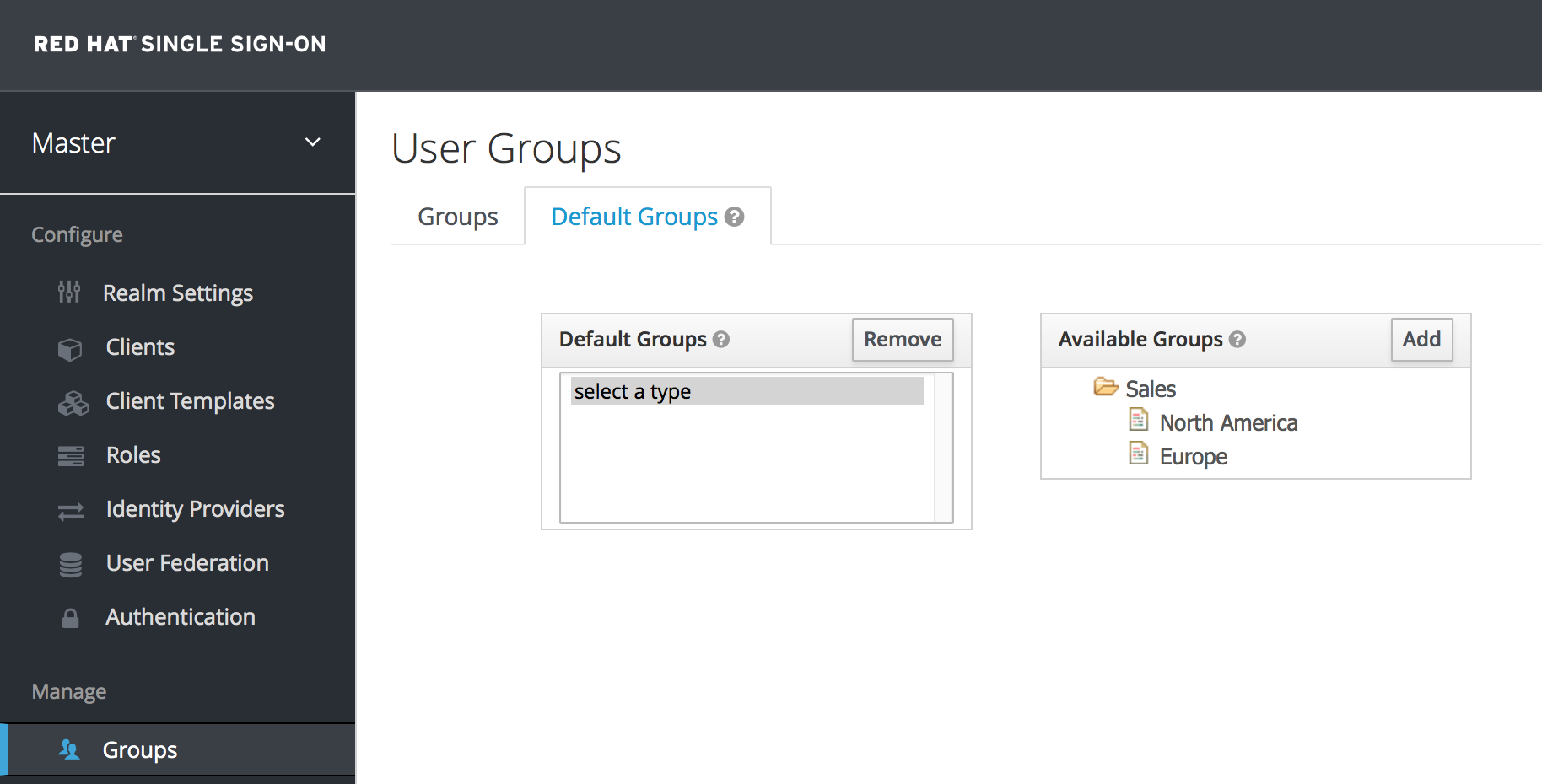 default groups