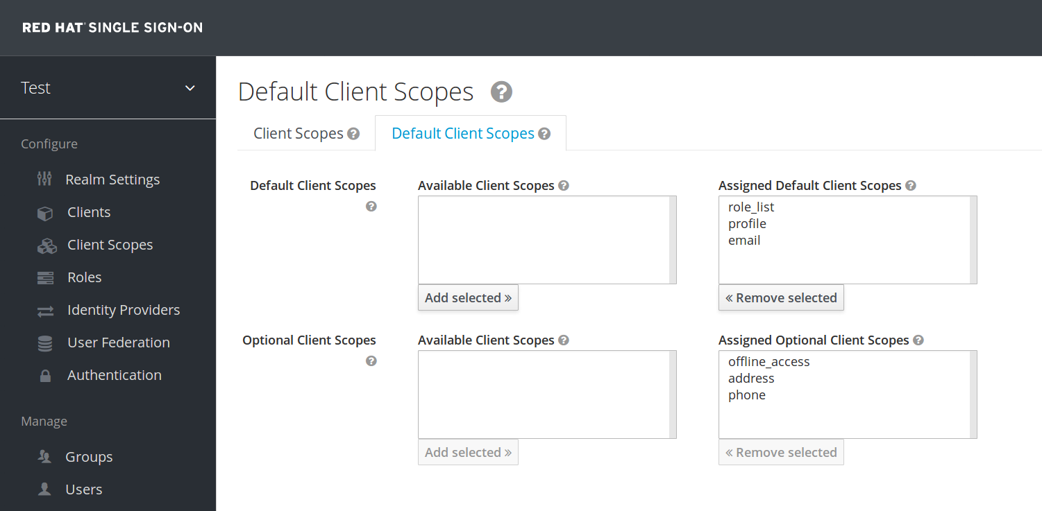 client scopes default
