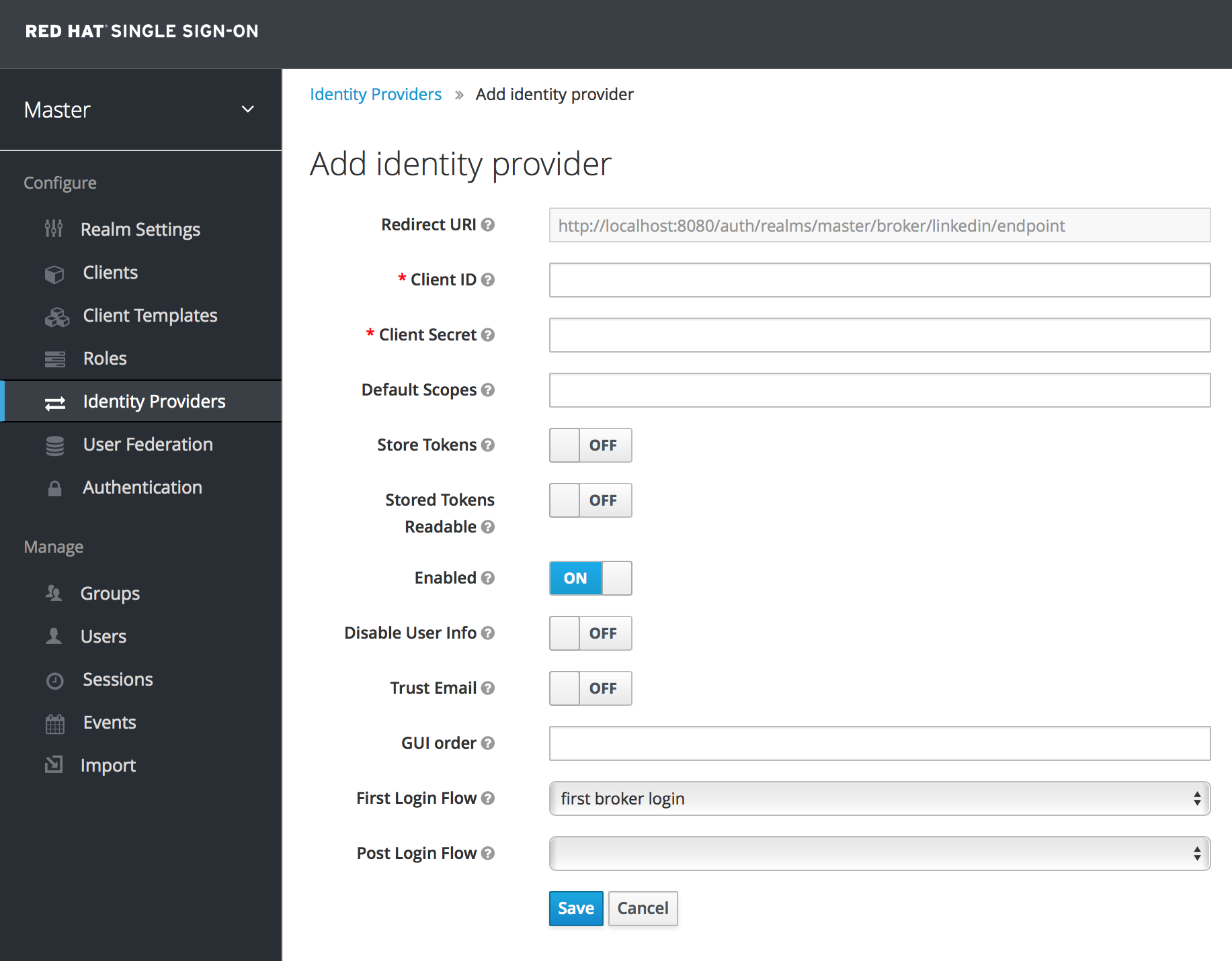linked in add identity provider