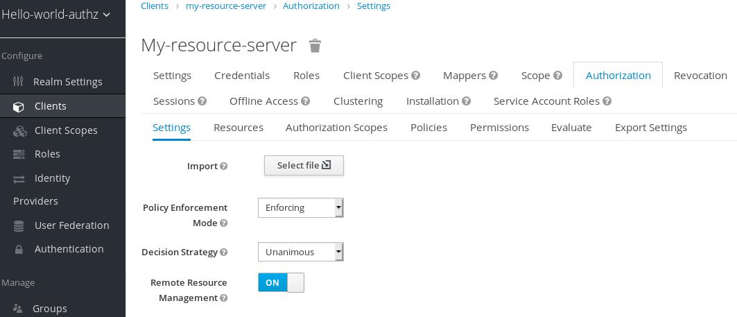Resource Server Settings