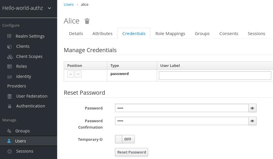 Set User Password