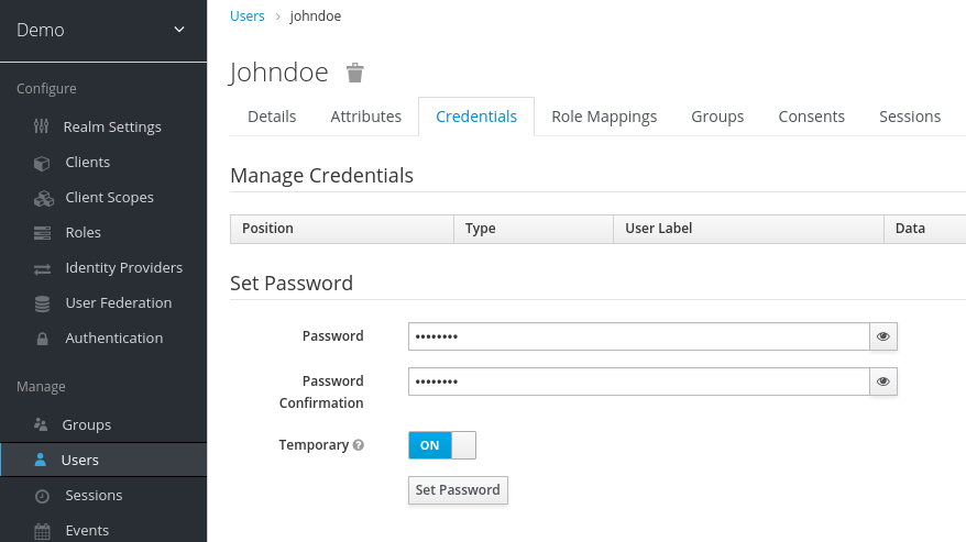 Manage Credentials page