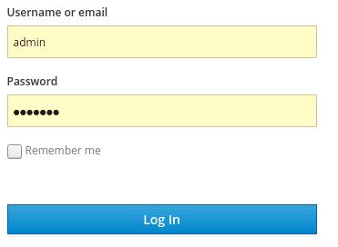 Admin console login screen