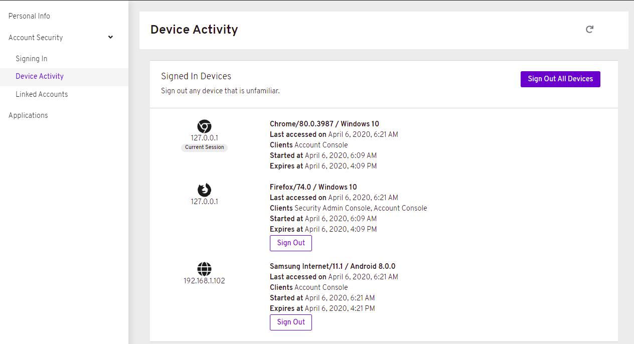 device activity