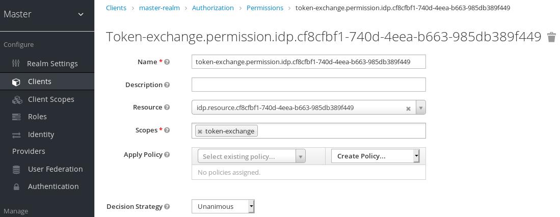 exchange idp permission setup