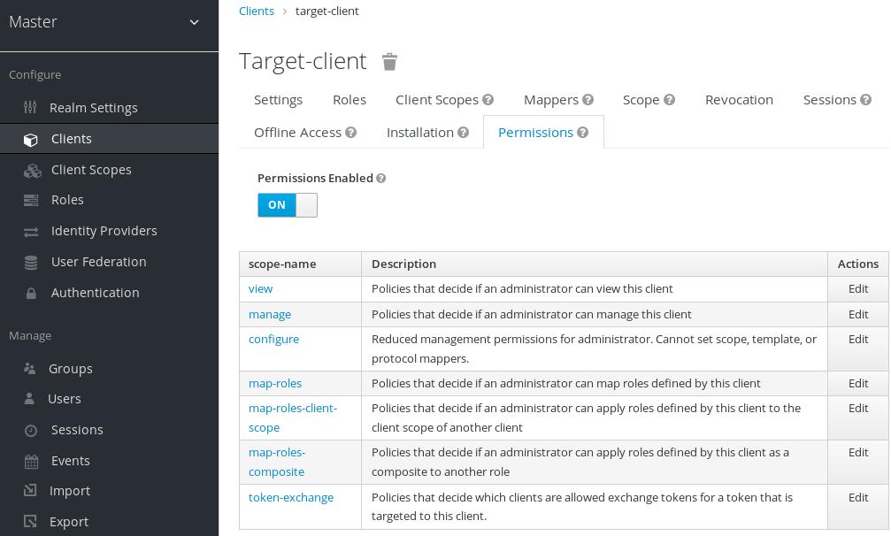 exchange target client permission set