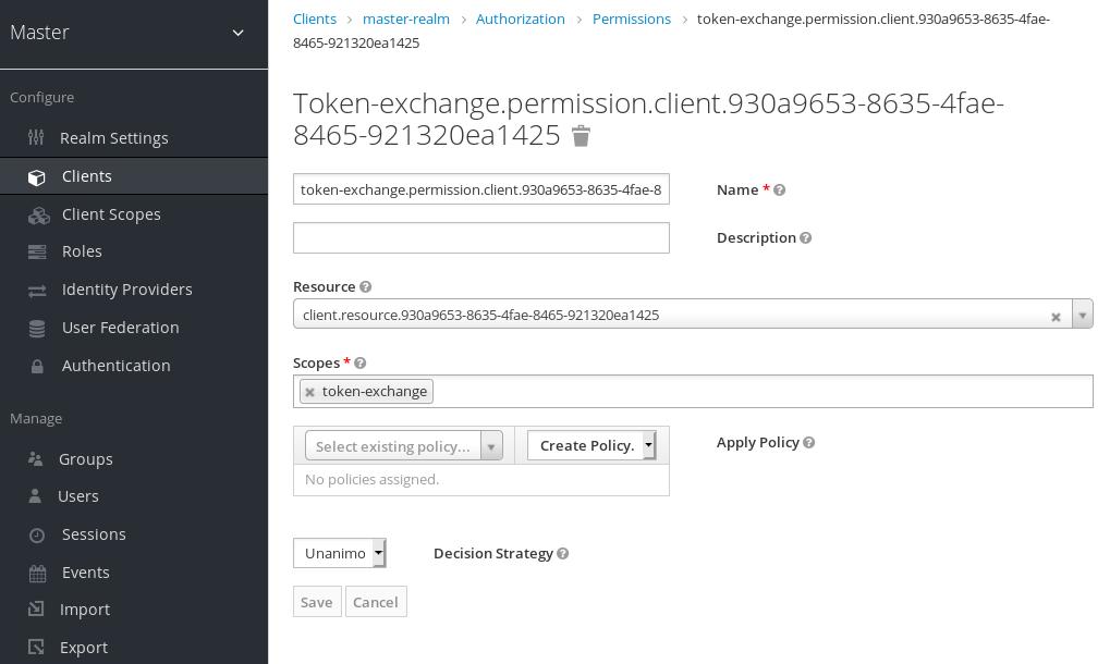 exchange target client permission setup