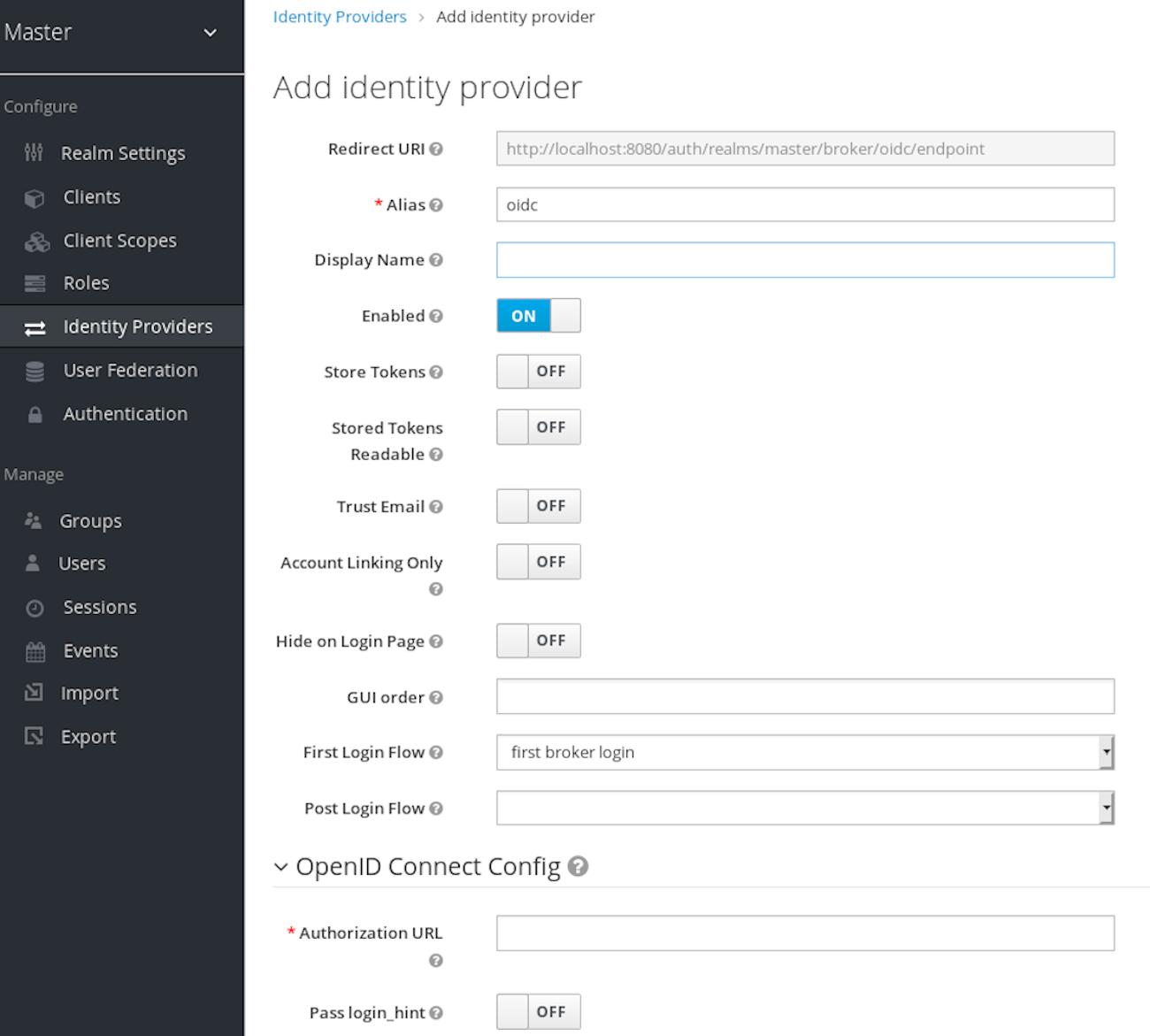 oidc add identity provider