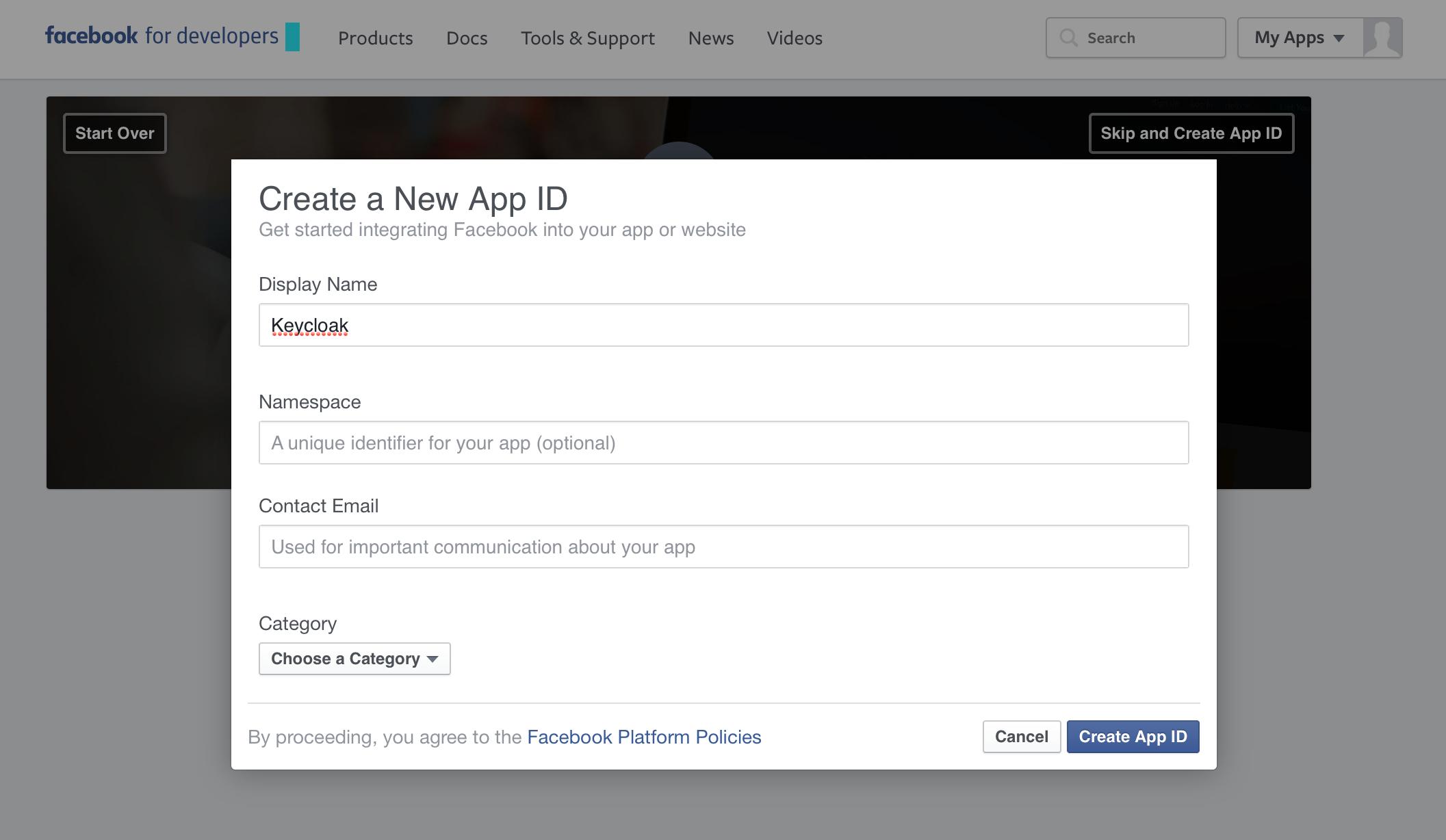 facebook create app id