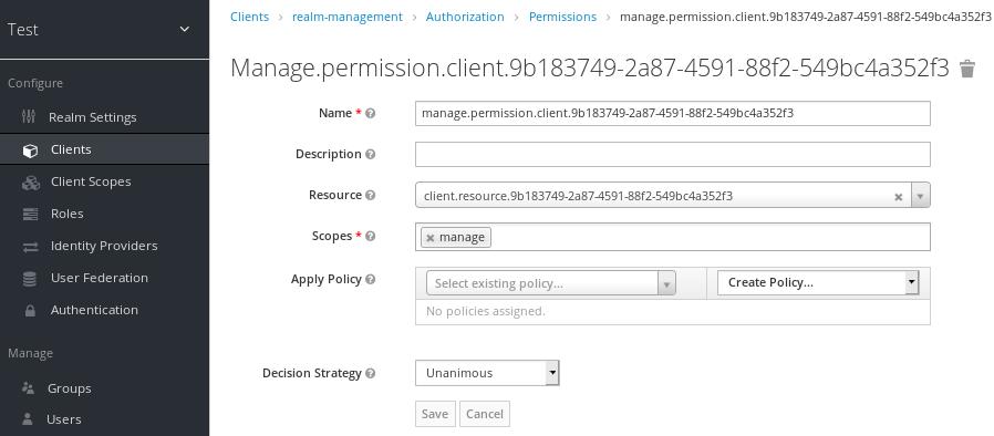 fine grain client manage permissions