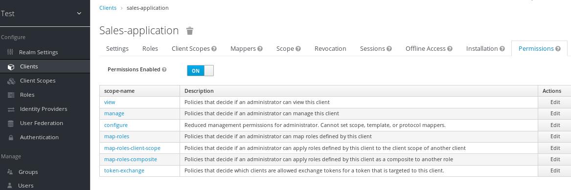 fine grain client permissions tab on