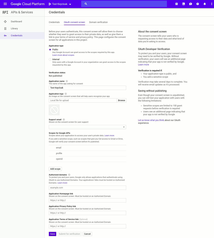 google oauth consent screen