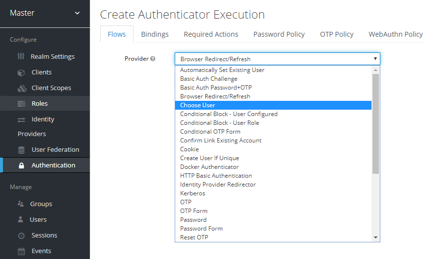 Create authentication execution