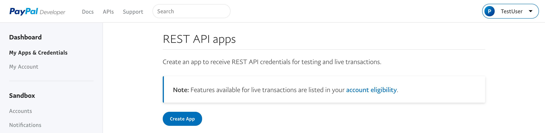 paypal developer applications