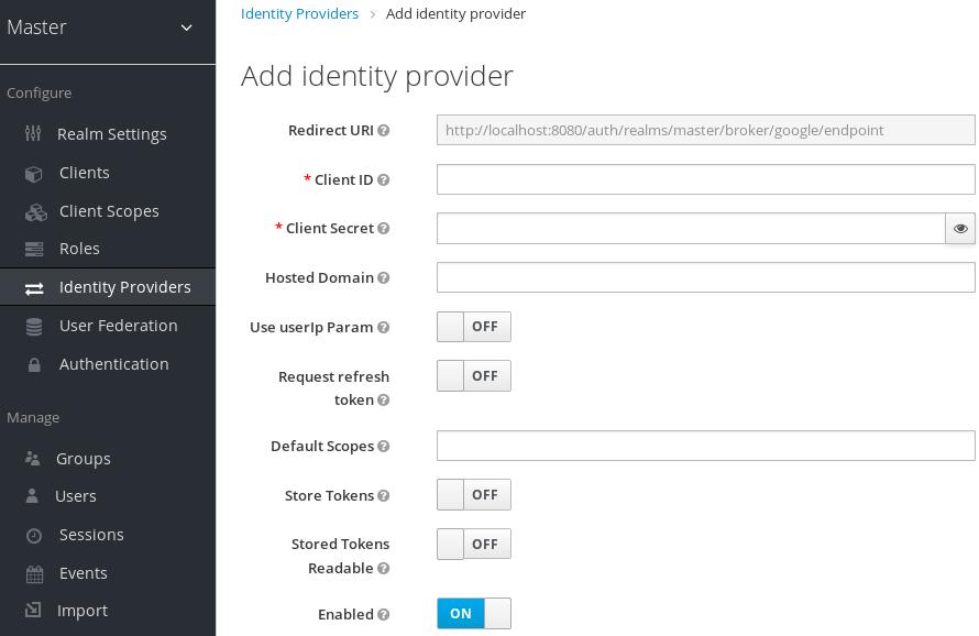 google add identity provider