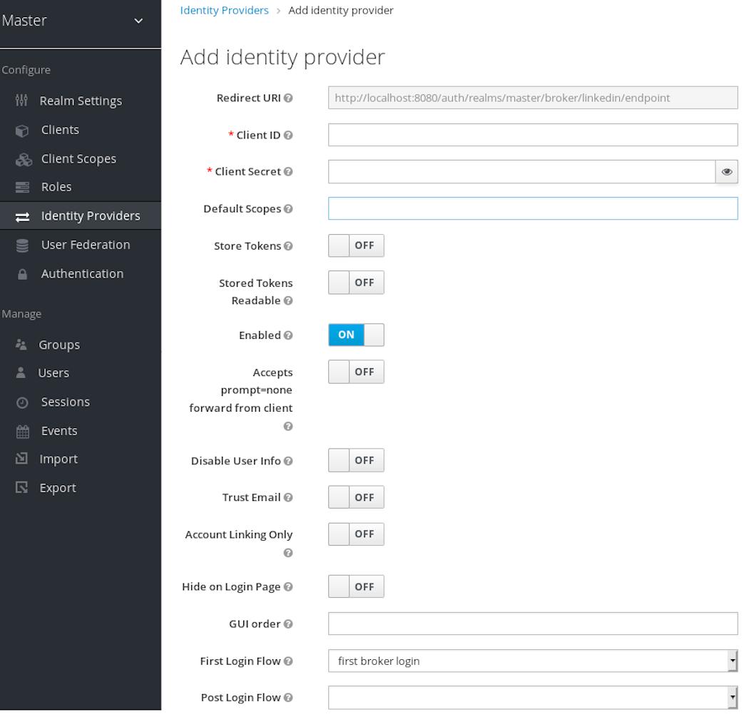 linked in add identity provider