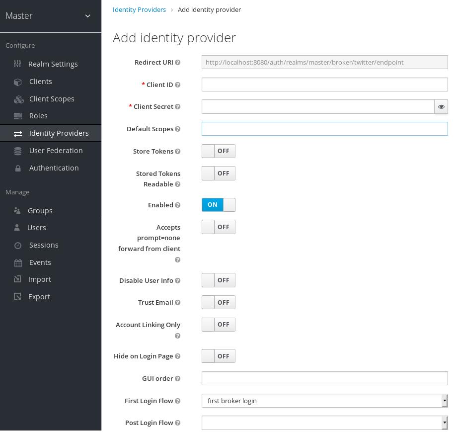 twitter add identity provider