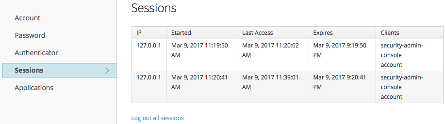 account service sessions