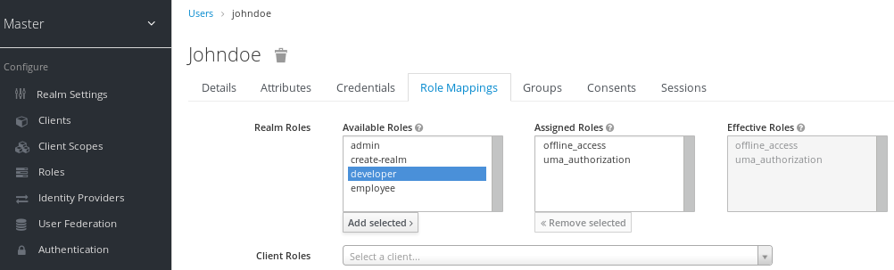user role mappings