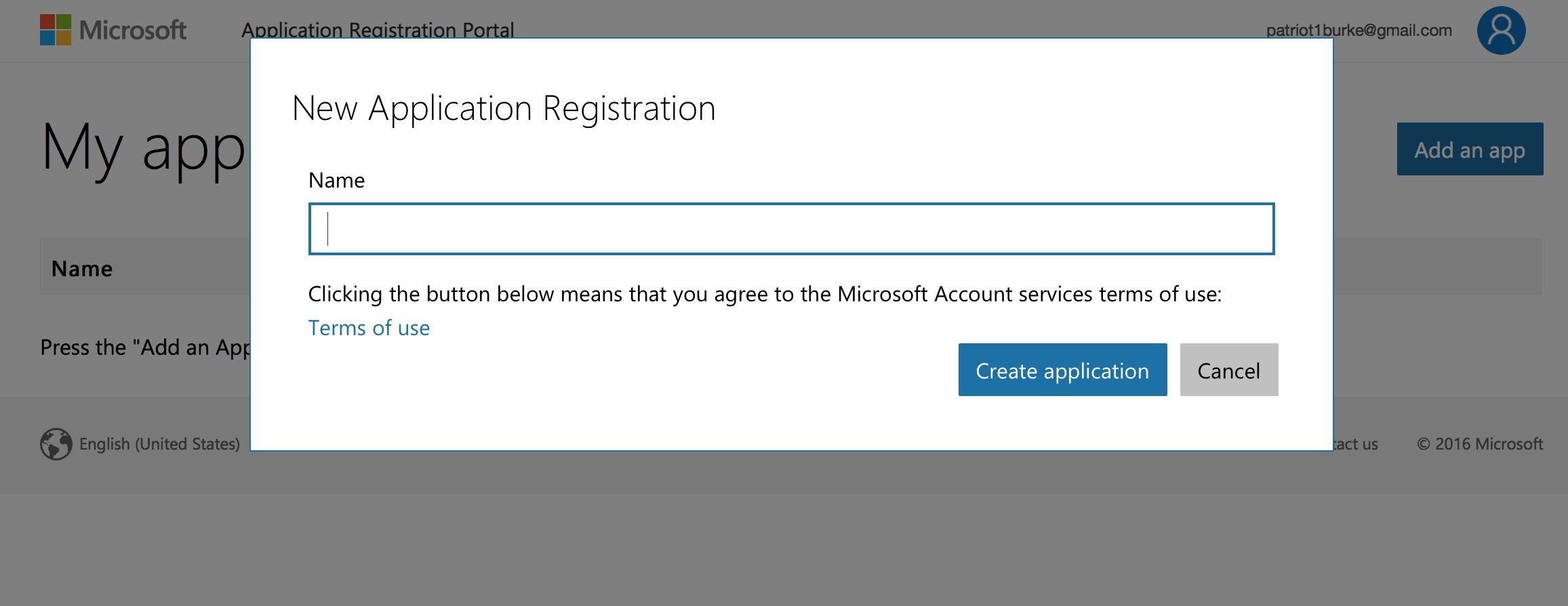 microsoft app register