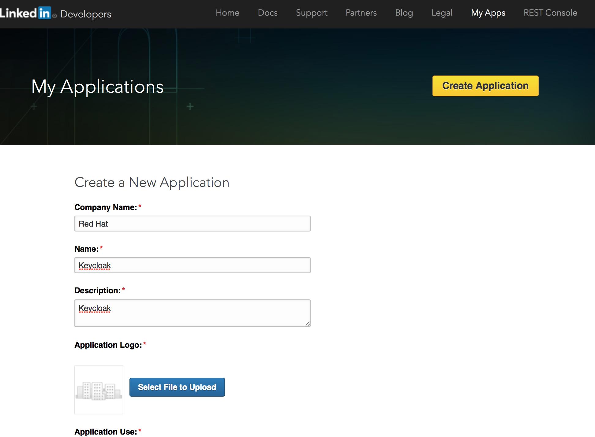 linked in create app