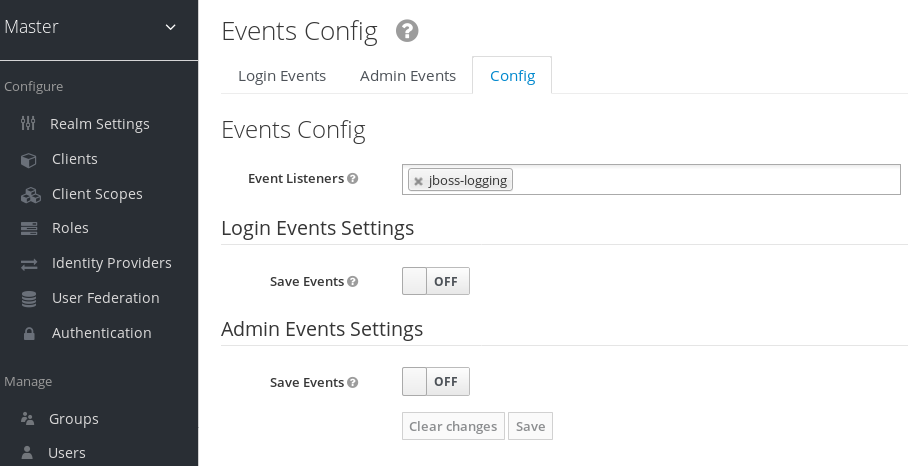 login events config