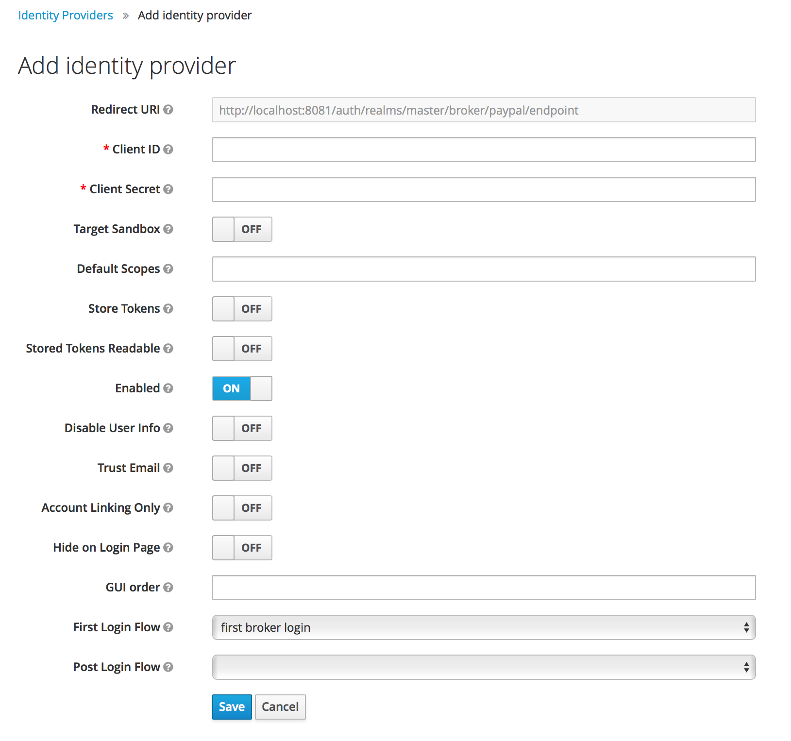 paypal add identity provider