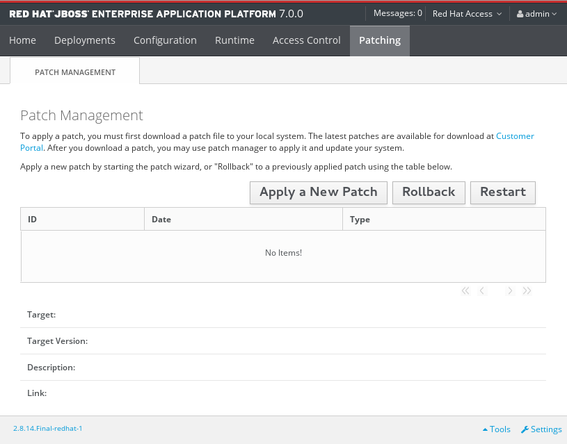 The Patch Management Screen for a Standalone Server