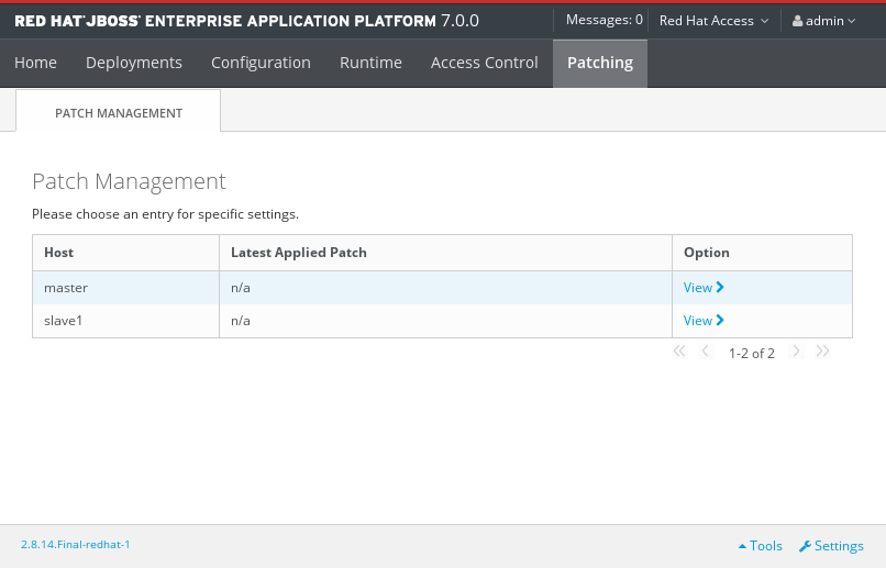 The Patch Management Screen for a Managed Domain