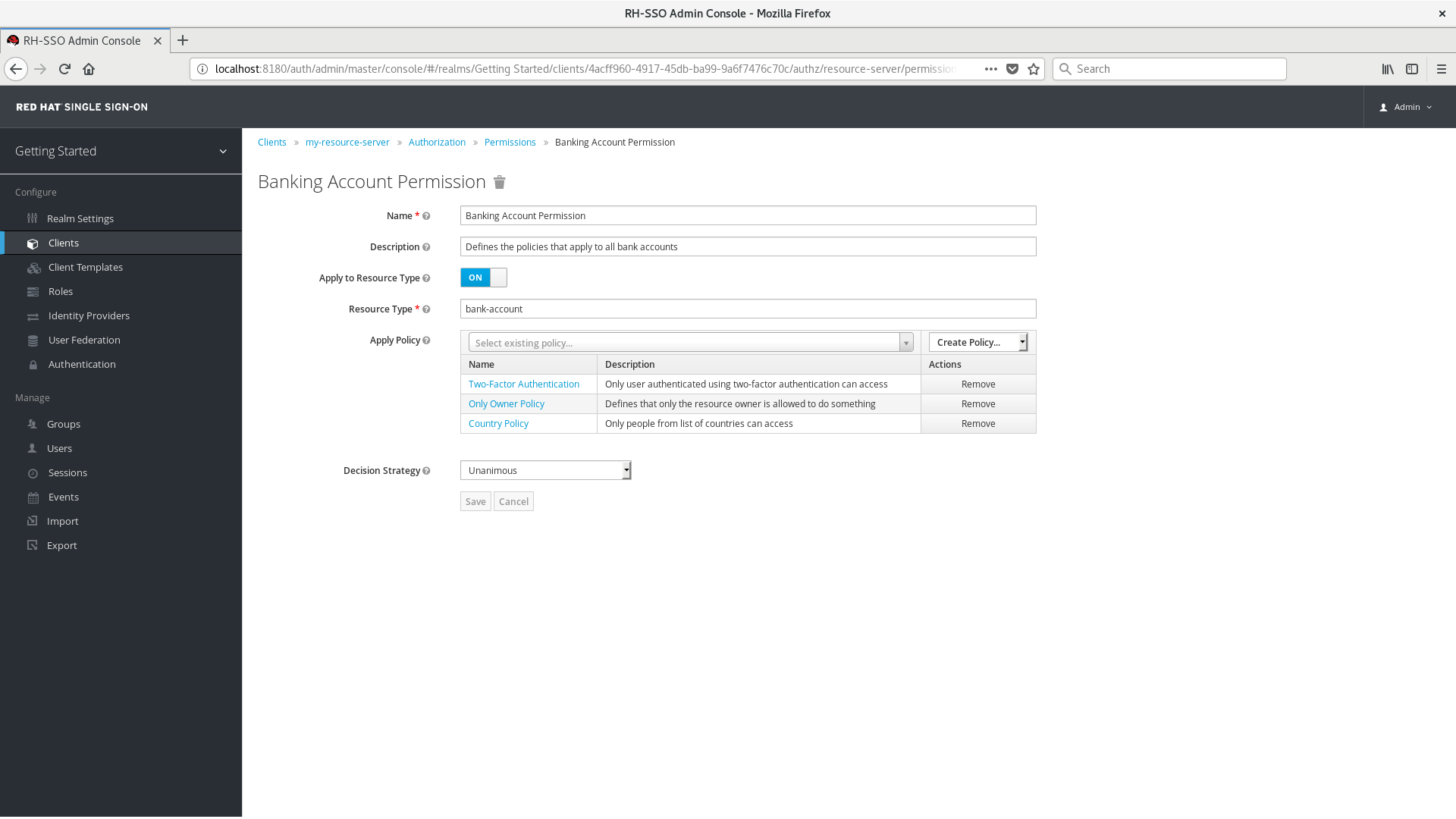 Example of a Typed Resource Permission