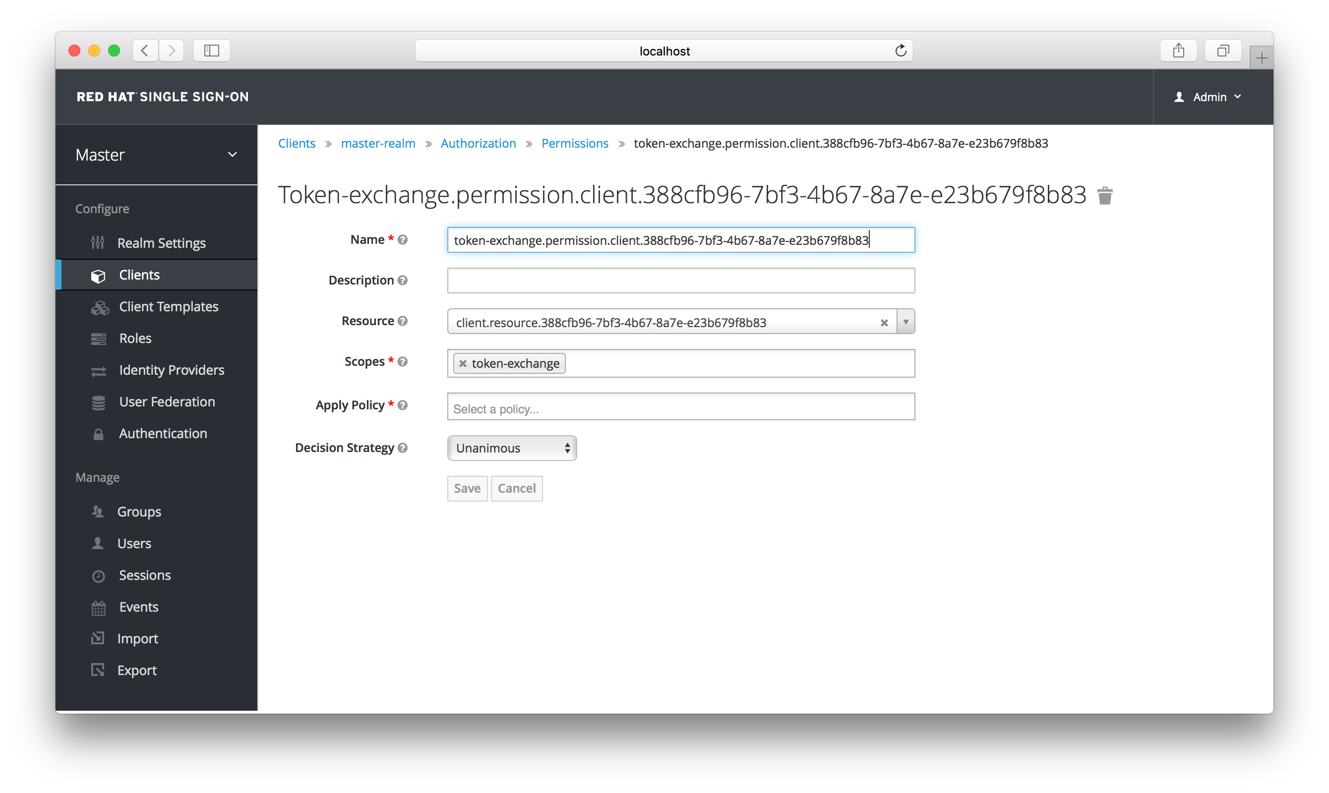 exchange target client permission setup