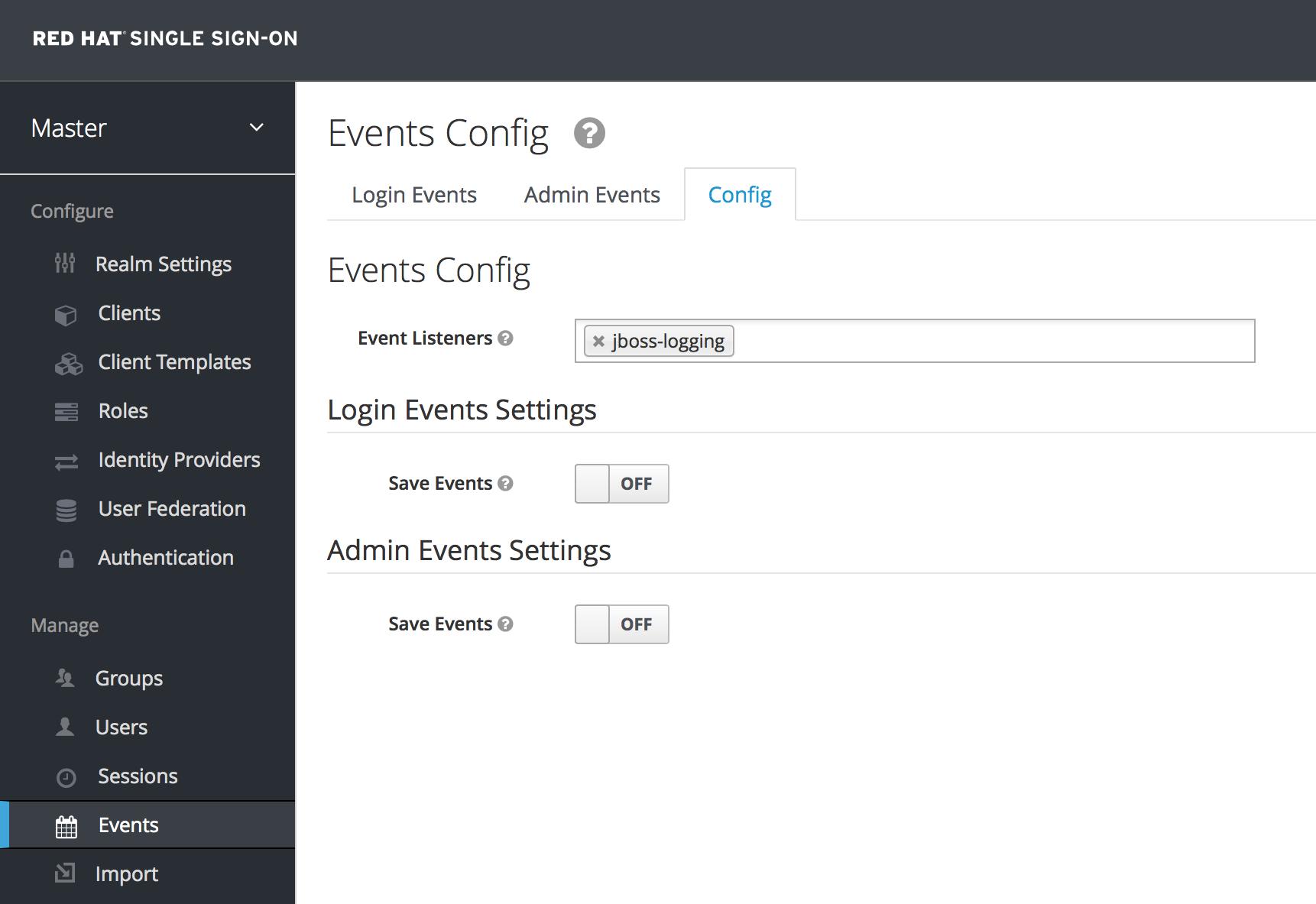login events config