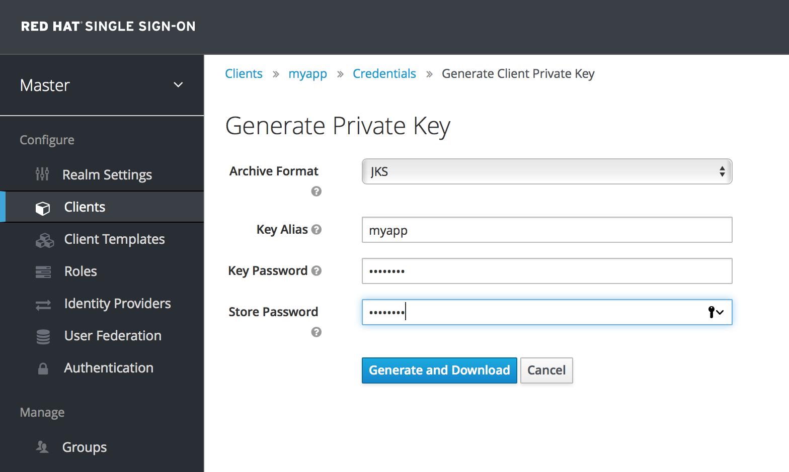 generate client keys