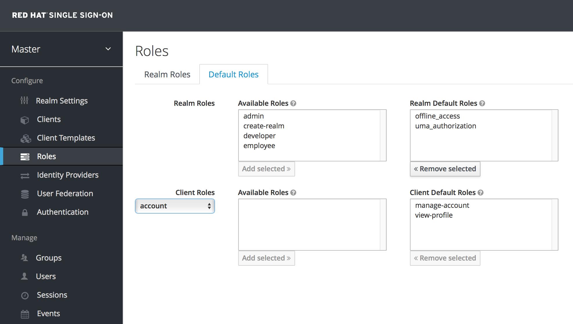 default roles