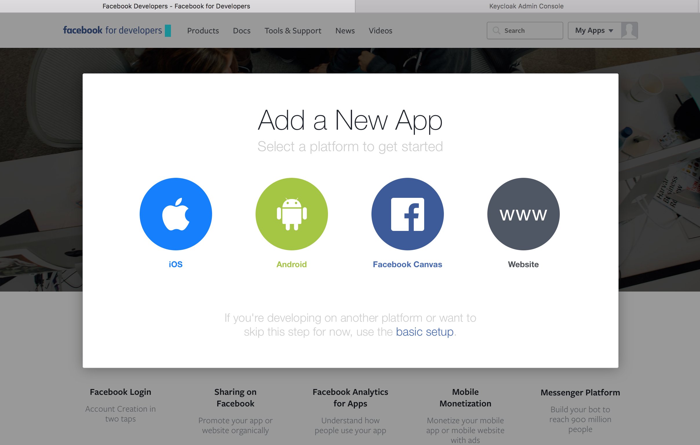 facebook add new app