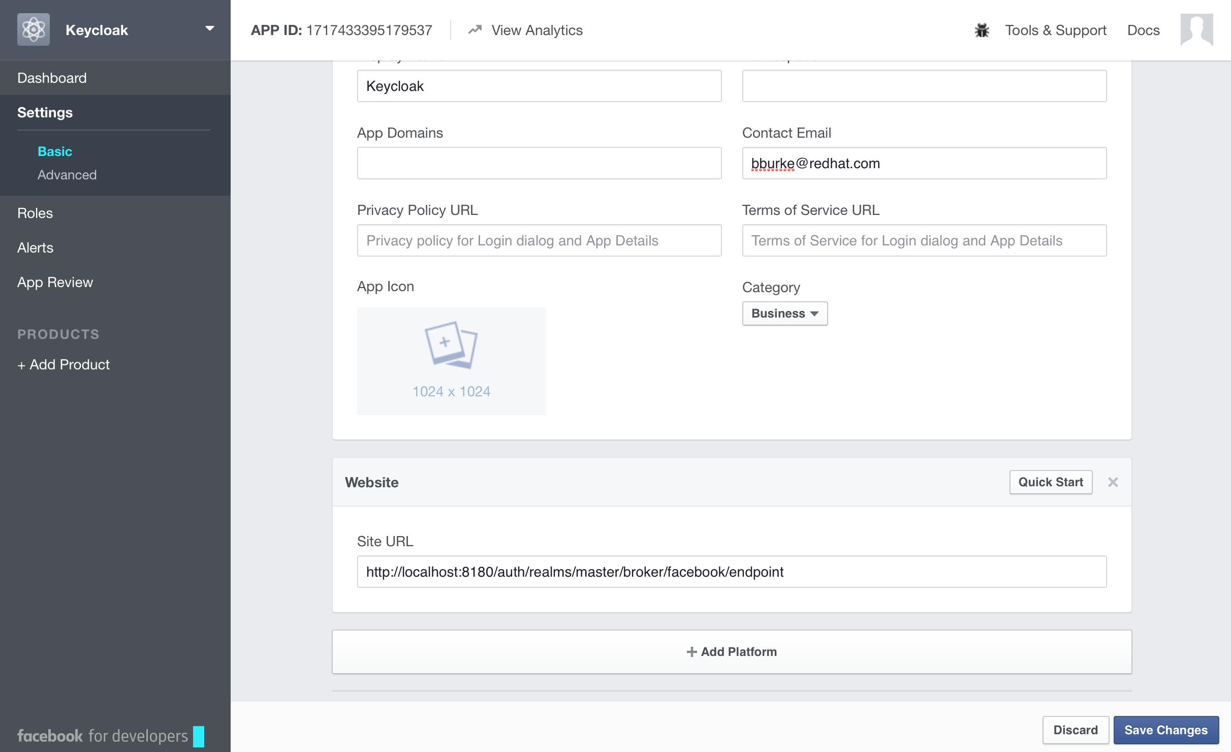 facebook app settings website
