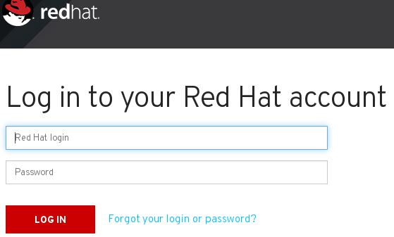Red Hat Customer Portal Login Dialog