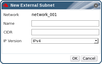 The New External Subnet Window