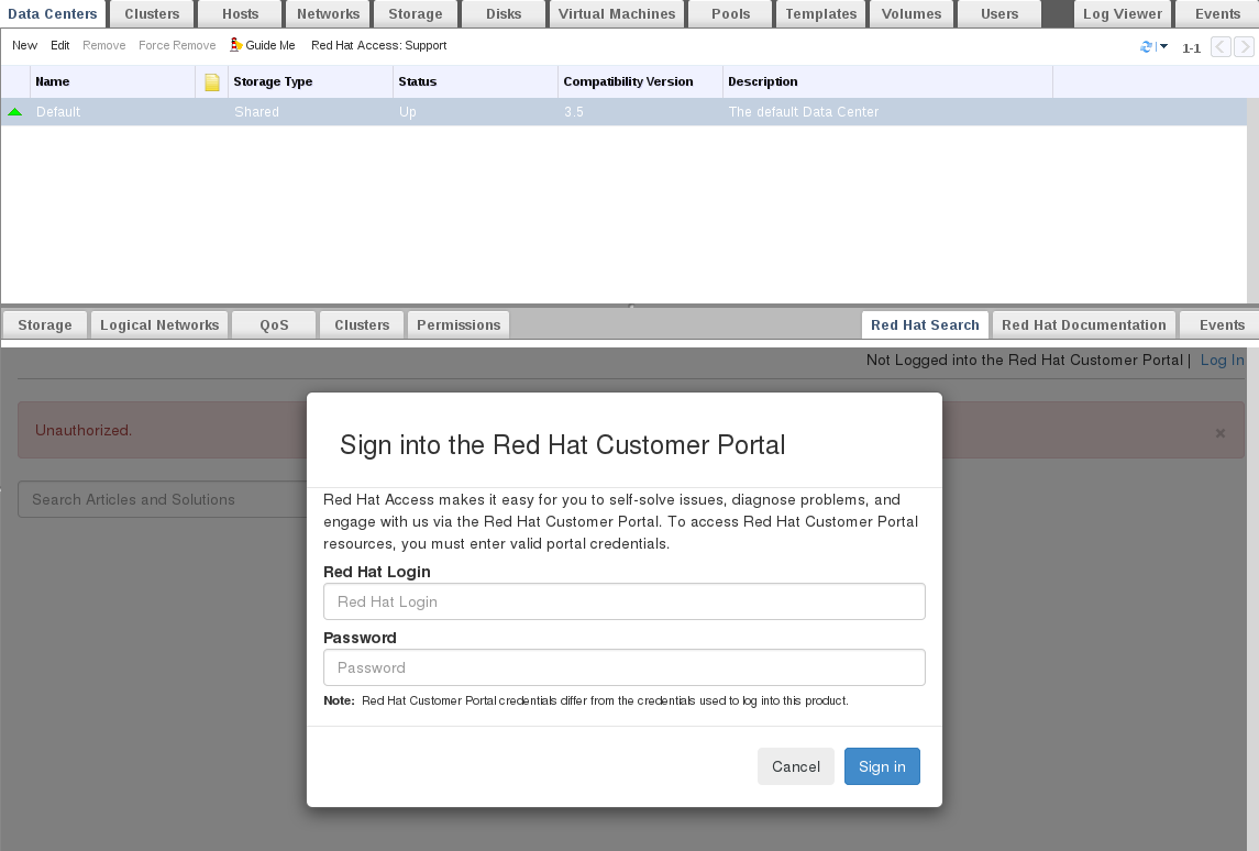 The Red Hat Support Plug-in Login Window
