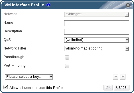 The VM Interface Profile window