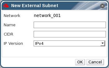 The New External Subnet Window