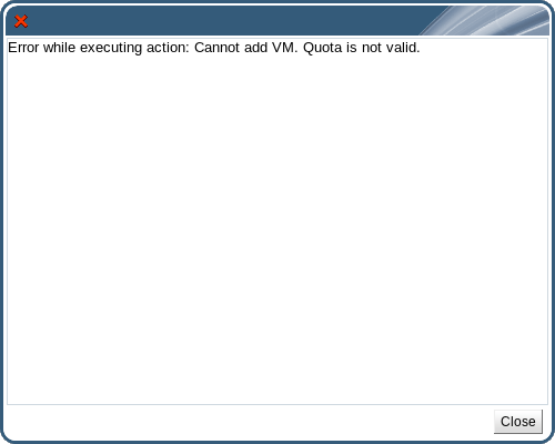 Quota exceeded error message
