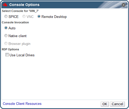 The Console Options window