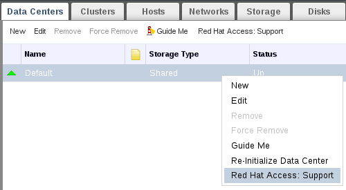 Right-clicking on a context menu to access Red Hat Support Plug-in