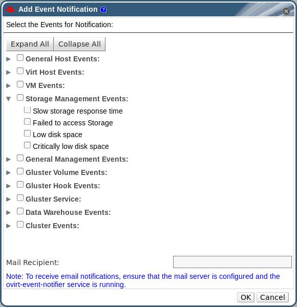 イベント通知の追加のウィンドウ
